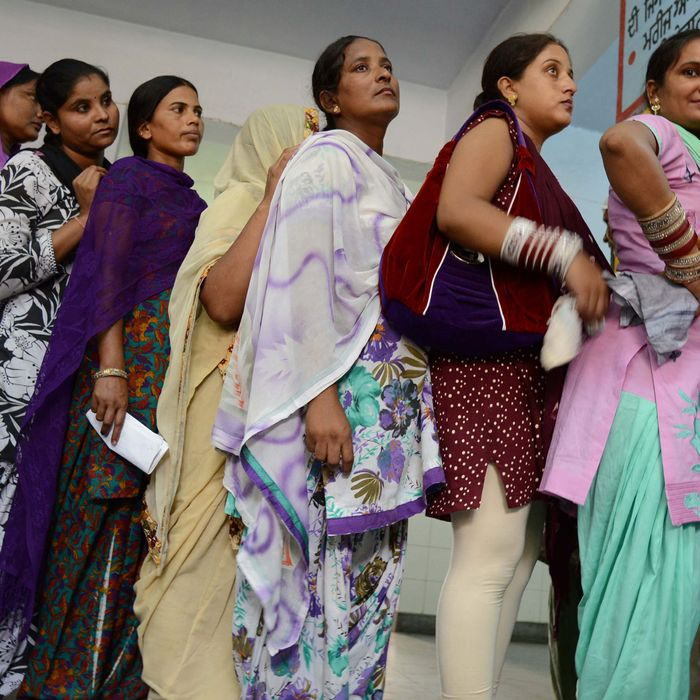 Pregnant women line up for a checkup at a government hospital in Amritsar, India.