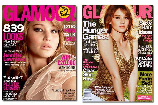 Jennifer Lawrence covering <em>Glamour</em> UK, US respectively.