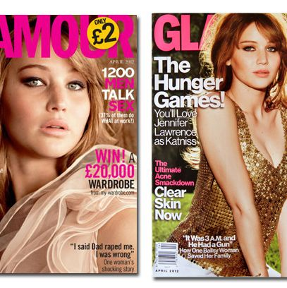 Jennifer Lawrence covering <em>Glamour</em> UK, US respectively.