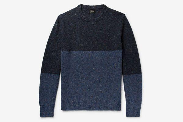 J.Crew Colour-Block Mélange Donegal Wool-Blend Sweater