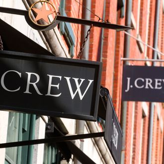 J. Crew Group Inc. signage is displayed outside of a retail store in New York, U.S., on Tuesday, March 1, 2011.