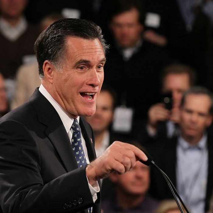 MANCHESTER, NH - JANUARY 10: Republican presidential candidate, former Massachusetts Gov. Mitt Romney speaks during his primary night party at Southern New Hampshire University on January 10, 2012 in Manchester, New Hampshire. According to early results, Romney finished first in the state's primary election. Romney has led a field of six GOP candidates in the polls by double digits going into to the primary, a second important test for presidential hopefuls. (Photo by Justin Sullivan/Getty Images)