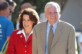 In this Sept. 5, 2006, file photo, Katherine Harris, left, and her husband, Anders Ebbeson, arrive at their polling precinct to vote in the primary elections in Longboat Key, Fla. Police say Ebbeson was found dead of an apparent suicide at the couple's home in Sarasota, Fla., Tuesday Nov. 19, 2013. (AP Photo/Steve Nesius, File) --- Image by © Steve Nesius/AP/Corbis
