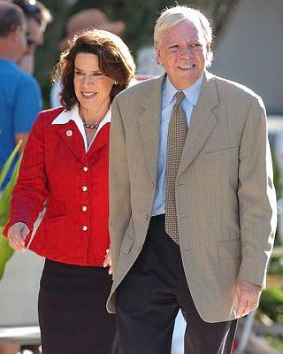 05 Sep 2006, Florida, USA --- FILE - In this Sept. 5, 2006, file photo, Katherine Harris, left, and her husband, Anders Ebbeson, arrive at their polling precinct to vote in the primary elections in Longboat Key, Fla. Police say Ebbeson was found dead of an apparent suicide at the couple's home in Sarasota, Fla., Tuesday Nov. 19, 2013. (AP Photo/Steve Nesius, File) --- Image by ? Steve Nesius/AP/Corbis