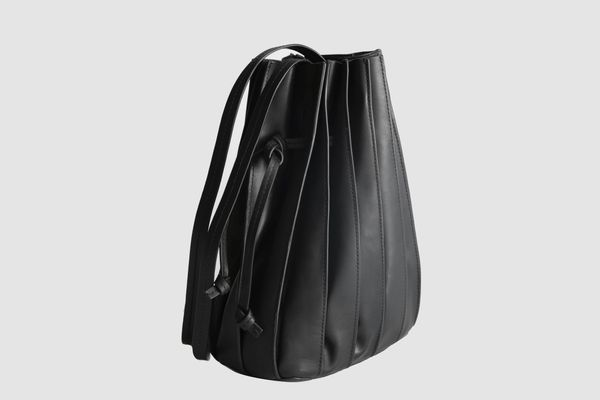 & Other Stories Pleated Leather Bucket Bag
