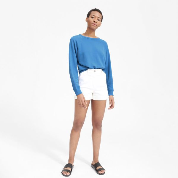 Everlane lightweight french terry crew in a beautiful blue