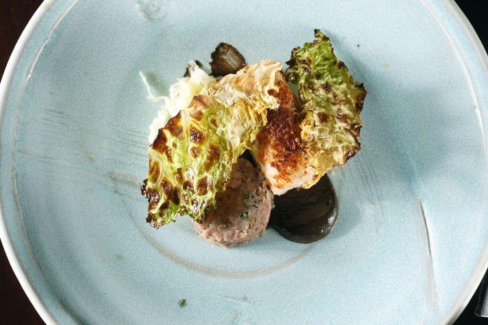 Guinea hen, cabbage, black trumpet mushrooms, caraway.