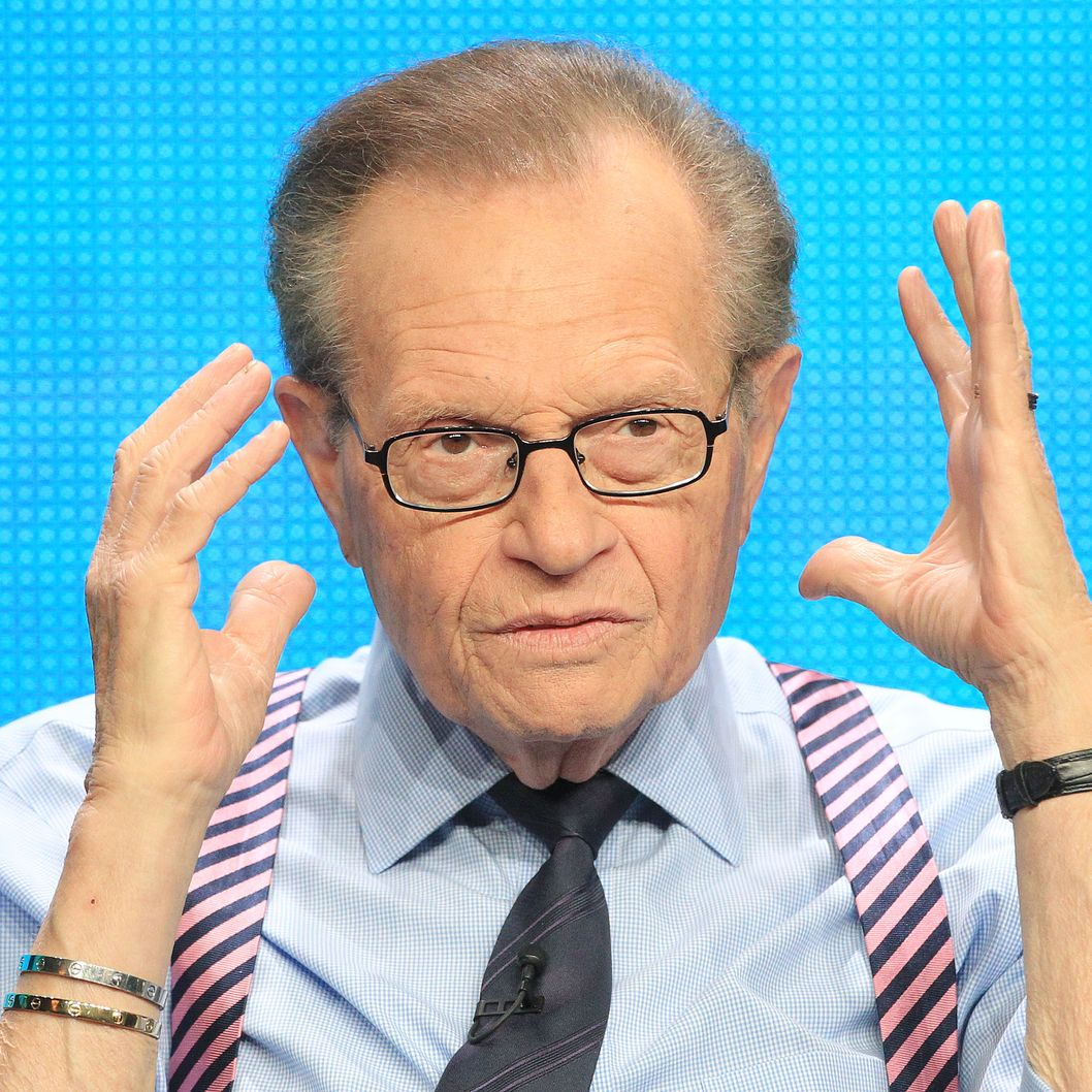 "BEVERLY HILLS, CA - JULY 31: Larry King of the television show ""Larry King Now"" speaks during the Hulu portion of the 2012 Summer TCA Press Tour at the Beverly Hilton Hotel on July 31, 2012 in Beverly Hills, California.  (Photo by Frederick M. Brown/Getty Images)"