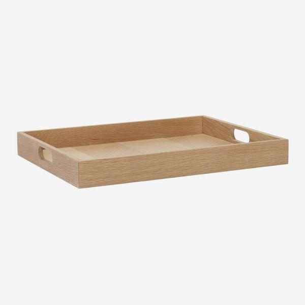 Rectangle Herringbone Oak Wood Serving Tray