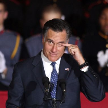 Republican U.S. presidential candidate and former Massachusetts Governor Mitt Romney rubs his eye as he speaks during a rally at Valley Forge Military Academy and College September 28, 2012 in Wayne, Pennsylvania. Romney continued to campaign for his run for the White House in the battleground state of Pennsylvania.