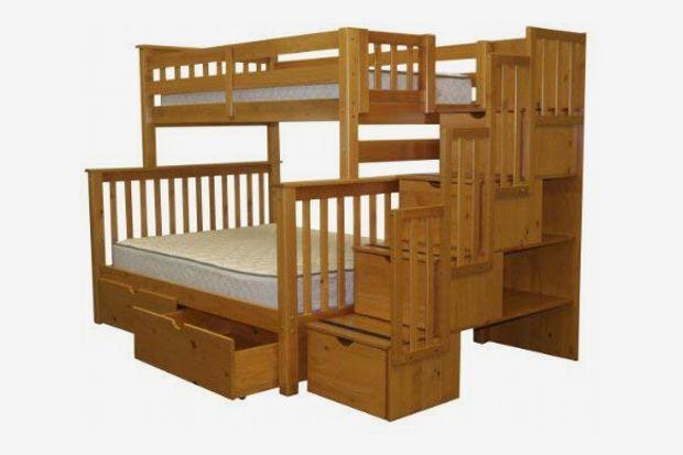 Bedz King Stairway Bunk Beds Twin over Full