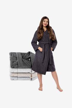Twinzen 100% Cotton Bathrobe - Towelling Bath Robe