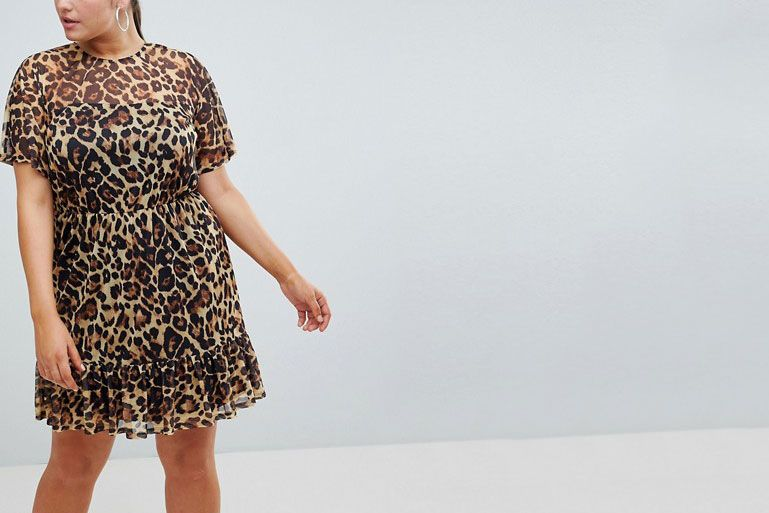 42b5196e91 ASOS DESIGN Curve mini mesh tea dress in leopard print