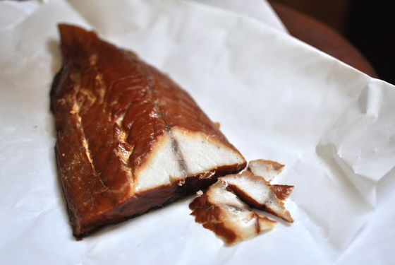Smoked bluefish from Shelsky's, a bargain at $6.49 per quarter pound.