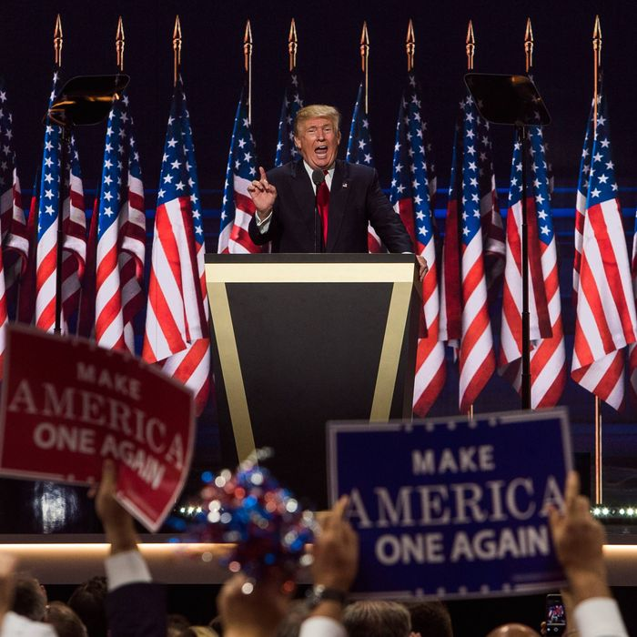 Republican Presidential nominee Donald Trump speaks during the fourth day of the Republican National Convention on July 21, 2016 at the Quicken Loans Arena in Cleveland, Ohio. (Photo/Andres Kudacki)