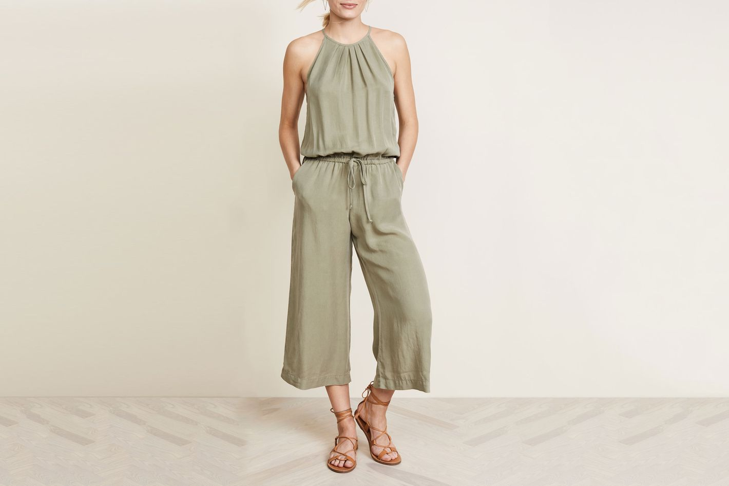 Bella Dahl Pleated Crop Leg Jumpsuit