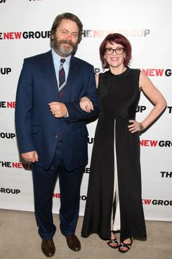 "NEW YORK, NY - APRIL 21:  Actors Nick Offerman and Megan Mullally attends the off Broadway opening night celebration for ""Annapurna"" at KTCHN Restaurant on April 21, 2014 in New York City.  (Photo by Mike Pont/Getty Images)"