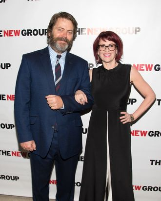 NEW YORK, NY - APRIL 21: Actors Nick Offerman and Megan Mullally attends the off Broadway opening night celebration for