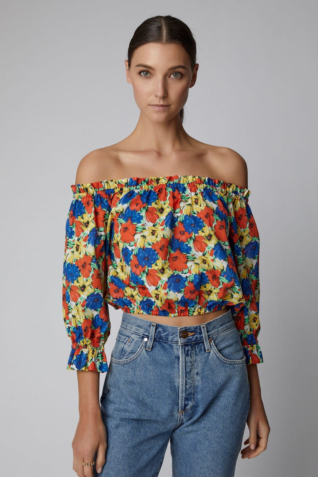 RIXO Kerry Floral-Print Off-The-Shoulder Cotton Cropped Top