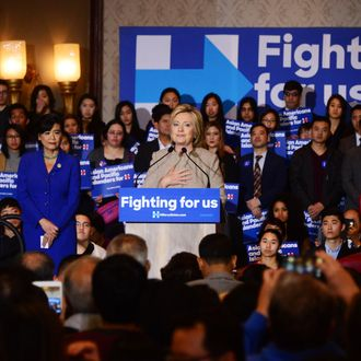 Democratic Presidential hopeful Hillary Clinton speaks with Asian American and Pacific Islander voters