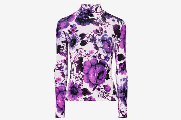 Richard Quinn Floral-Print Velvet Turtleneck Top