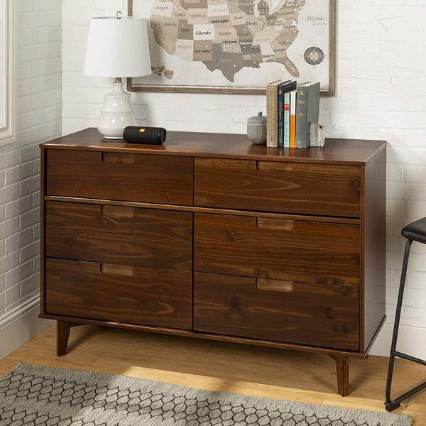 Walker Edison Mid-Century-Modern Grooved-Handle Wood Dresser