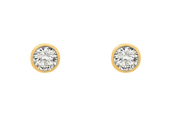 Cubic-zirconia stud earrings in 18-karat yellow gold