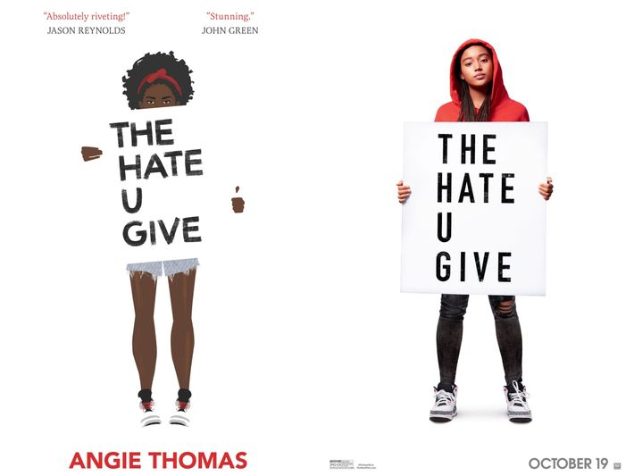 Book cover and movie poster for The Hate U Give