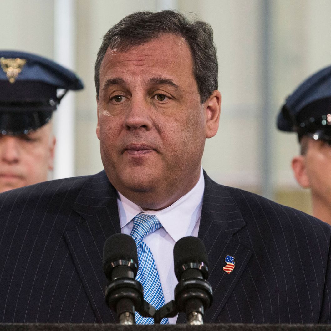 EAST RUTHERFORD, NJ - JANUARY 29:  New Jersey Gov. Chris Christie speaks at a press conference announcing new objectives to crack down on human and sex trafficking throughout the state of New Jersey, inspired in part by the upcoming Super Bowl, on January 29, 2014 in East Rutherford, New Jersey. Christie Spoke along side New Jersey Attorney General John Hoffman and Cindy McCain, wife of Arizona Senator John McCain. The Super Bowl will be played at MetLife Stadium in East Rutherford, NJ, this Sunday, February 2, 2014.  (Photo by Andrew Burton/Getty Images)