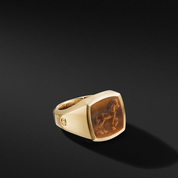 David Yurman Petrvs Horse Signet Ring in 18K Gold With Tiger's Eye