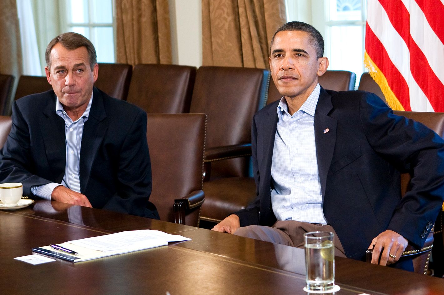U.S. President Barack Obama (R) meets with Speaker of the House John Boehner (R-OH) (L) in the Cabinet Room of the White House.
