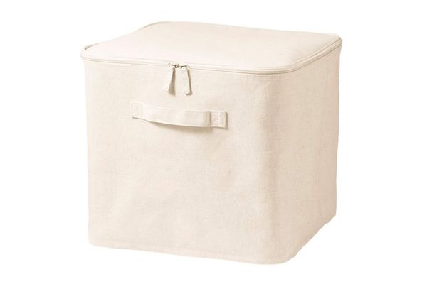 Polyester Cotton Linen Square Soft Box, Large With Lid