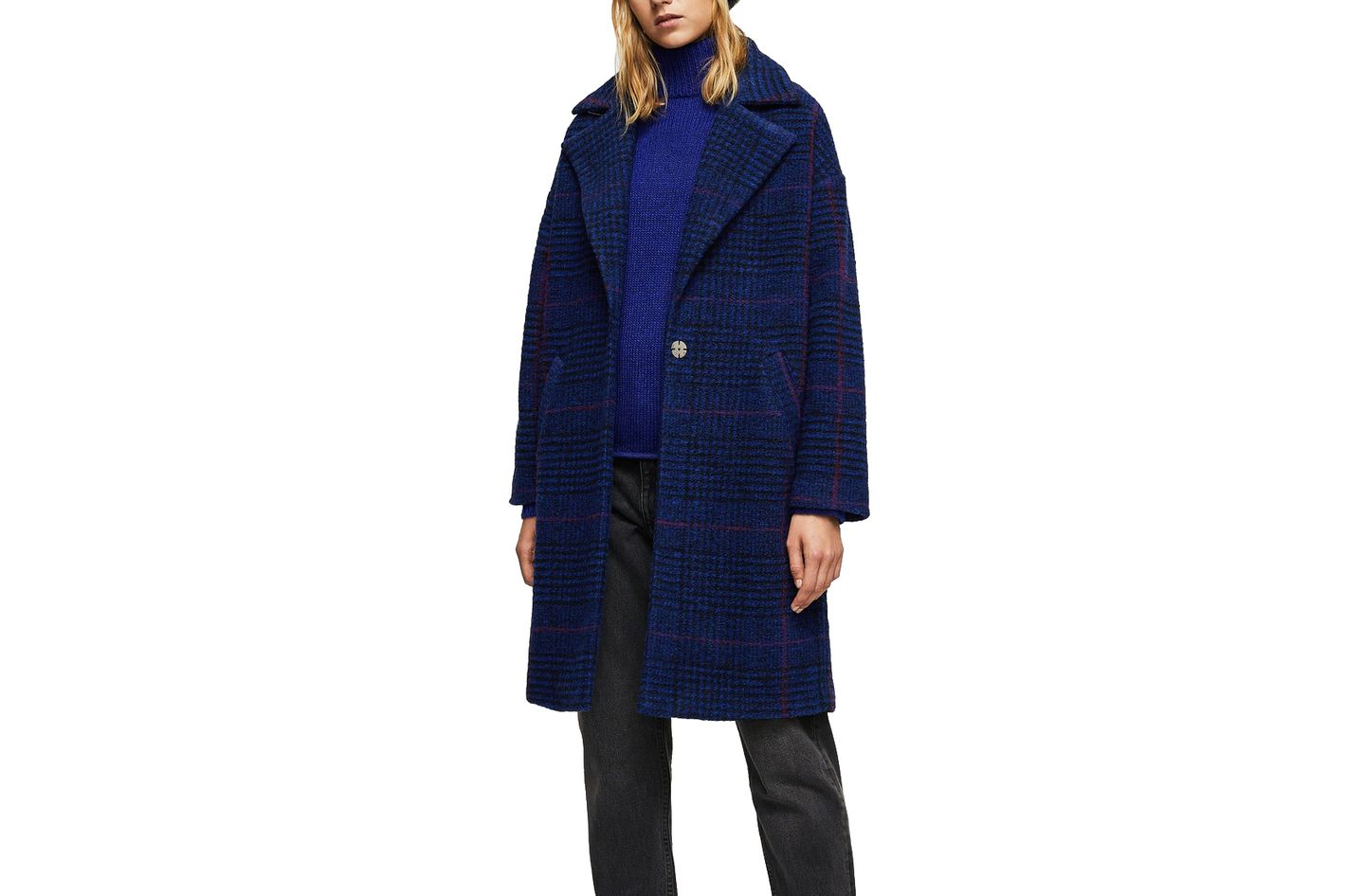 Mango Checkered Wool Blend Coat