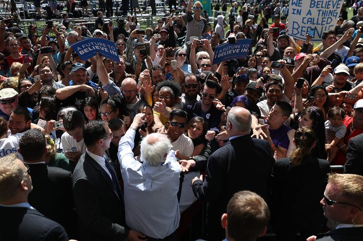 Democratic Presidential Candidate Bernie Sanders Campaigns In Stockton, California