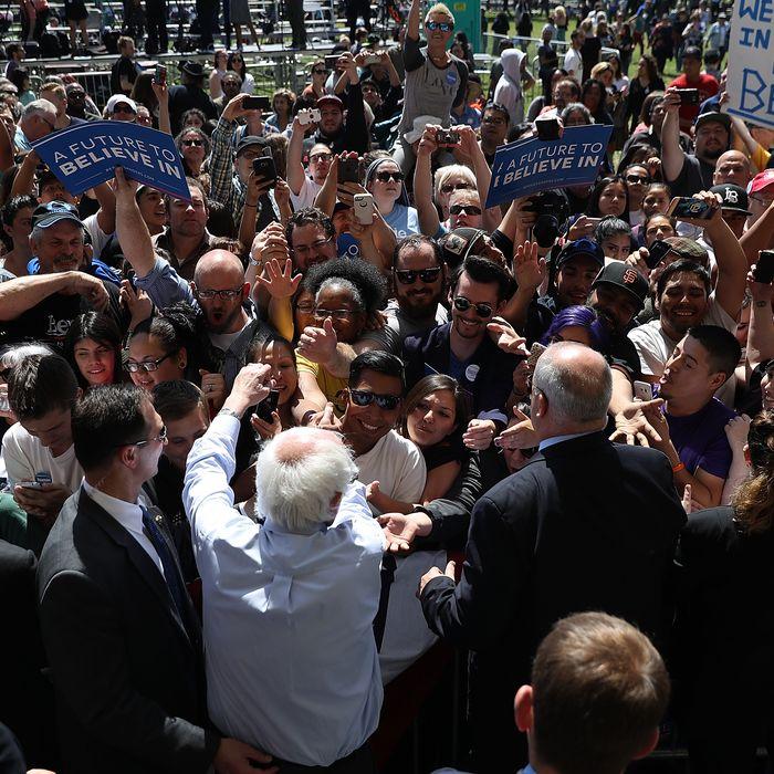 Democratic Presidential Candidate Bernie Sanders Campaigns In Stockton, California