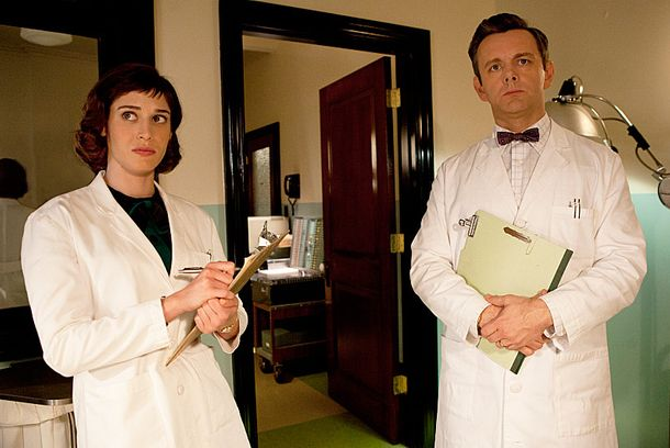 Lizzy Caplan as Virginia Johnson and Michael Sheen as Dr. William M