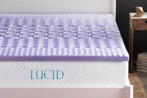 Lucid 2-inch 5-Zone Lavender Memory-Foam Mattress Topper