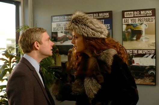 "FARGO ""The Heap"" -- Episode 108 -- Airs Tuesday, June 3, 10:00 pm e/p) -- Pictured: (L-R) Martin Freeman as Lester Nygaard, Kate Walsh as Gina Hess -- CR: Chris Large/FX"