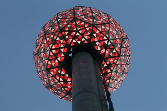 NEW YORK, NY - DECEMBER 30:   The Times Square New Year's Eve Ball is tested the day before New Year's Eve on December 30, 2011 in New York City. The 11,875-pound Waterford crystal ball will descend a 130-foot tall flagpole to mark the beginning of 2012. (Photo by Mario Tama/Getty Images)