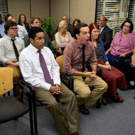 "THE OFFICE -- ""New Guys"" Episode 901 -- Pictured: Back row (l-r) Leslie David Baker as Stanley Hudson, Craig Robinson as Darryl Philbin, John Krasinski as John Halpert, Catherine Tate as Nellie Bertram, Creed Bratton as Creed Bratton, Middle row (l-r) Clark Duke as Clark, Jake Lacy as Pete, Angela Kinsey as Angela Martin, Ellie Kemper as Erin Hannon, Brian Baumgartner as Kevin Malone, Front row (l-r) Oscar Nunez as Oscar Martinez, Ed Helms as Andy Bernard, Kate Flannery as Meredith Palmer, Phyllis Smith as Phyllis Vance, Rainn Wilson as Dwight Schrute  -- (Photo by: Justin Lubin/NBC)"