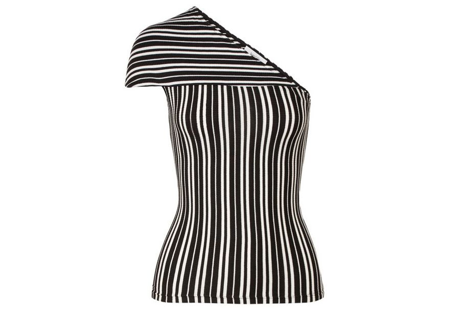 BEAUFILLE Mensa one-shoulder striped ribbed stretch-knit top