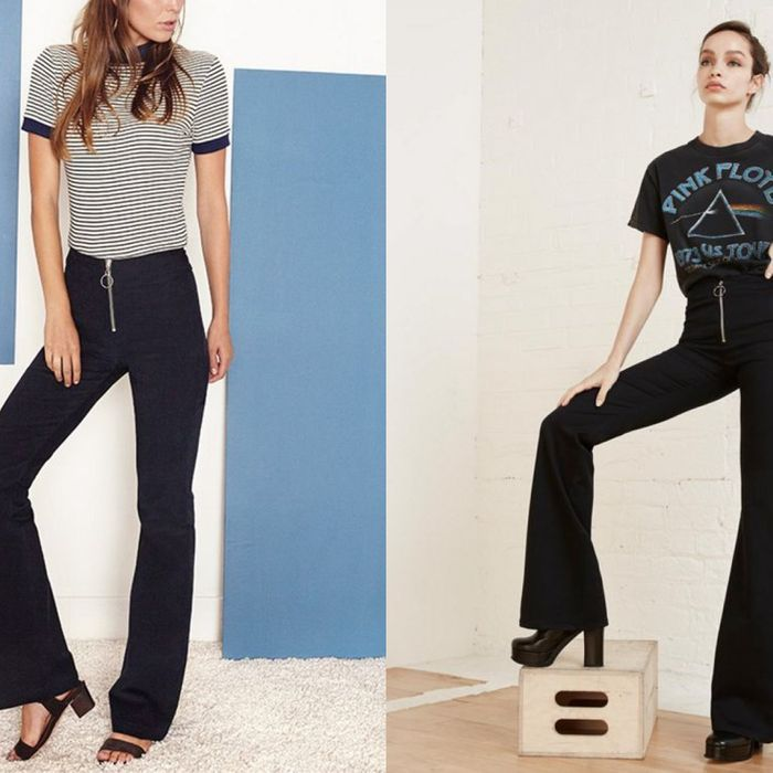 Left, a look from Staud; right, a look from Reformation.