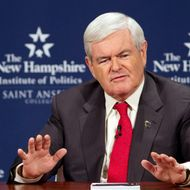 MANCHESTER, NH - DECEMBER 12: Republican Presidential Candidate Newt Gingrich takes part in a Lincoln-Douglas style debate with Jon Huntsman at Saint Anselm College on December 12, 2011 in Manchester, New Hampshire. The debate will primarily delve into national security and foreign policy.  (Photo by Matthew Cavanaugh/Getty Images)
