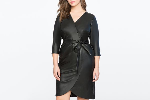 Eloquii Faux Leather Wrap Dress