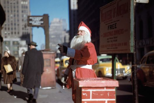Man Dressed as Santa Claus Asking for Donations