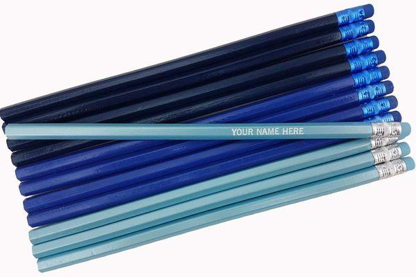 Ezpencils - Personalized Shadows of Blue Hexagon Pencils