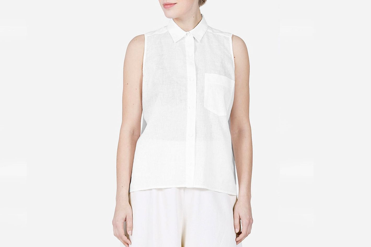 Everlane Cotton-Linen Sleeveless Shirt