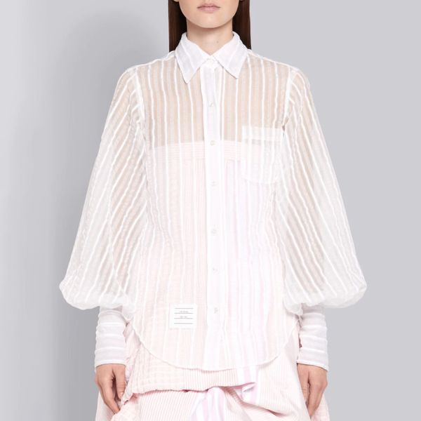 Thom Browne Semi Transparent Seersucker Jacquard Shirt