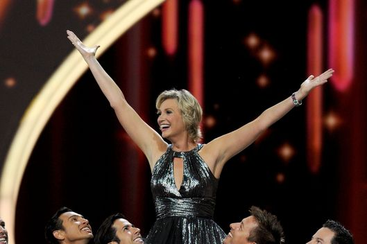 LOS ANGELES, CA - SEPTEMBER 18:  Host Jane Lynch performs onstage during the 63rd Annual Primetime Emmy Awards held at Nokia Theatre L.A. LIVE on September 18, 2011 in Los Angeles, California.  (Photo by Kevin Winter/Getty Images)