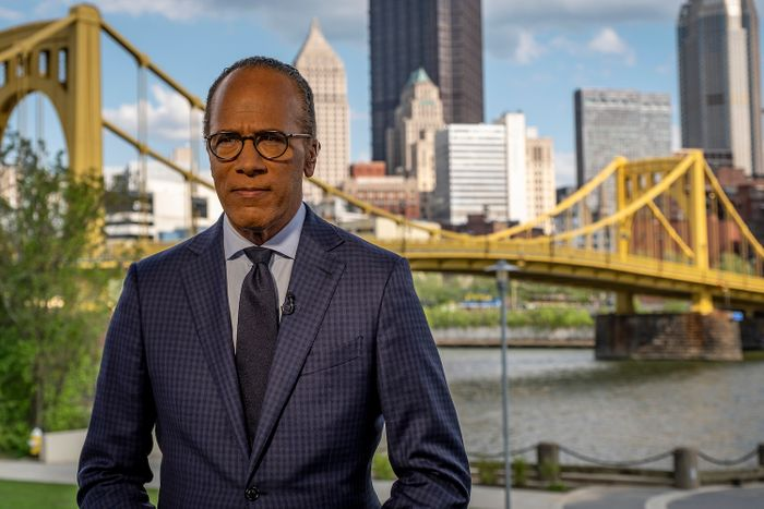 Lester Holt during a reporting trip in Pittsburgh.